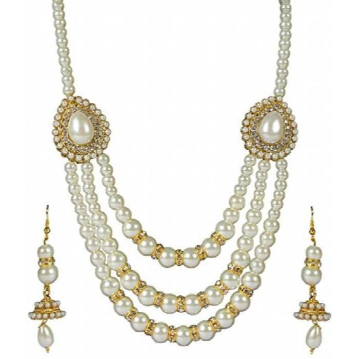 Plaqué or spécial fête des femmes Collier multi Strand Avec Boucles doreilles pendantes et pourV36EO