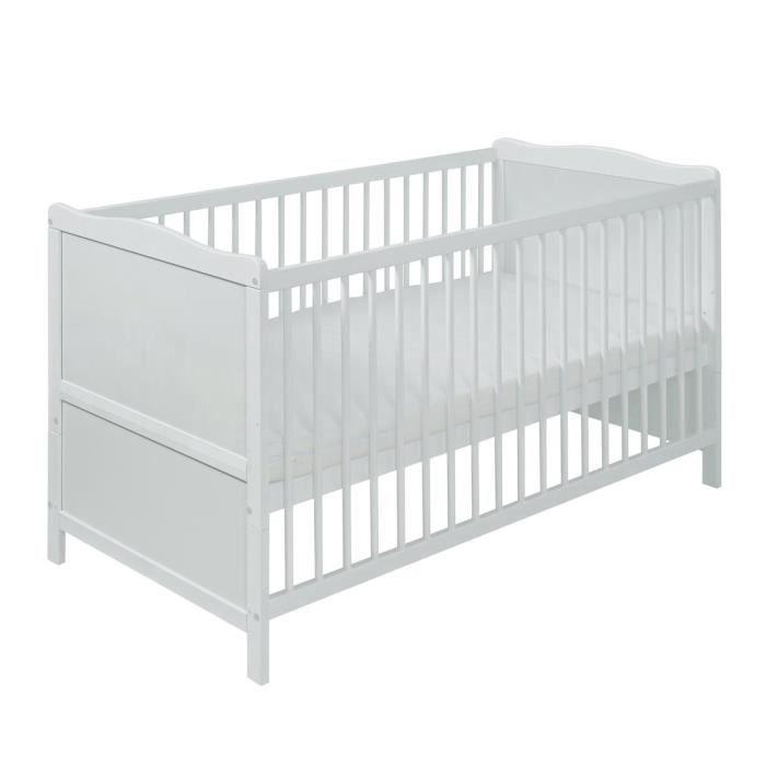 lit bébé 140x70 blanc avec matelas. vintage livraison gratuite