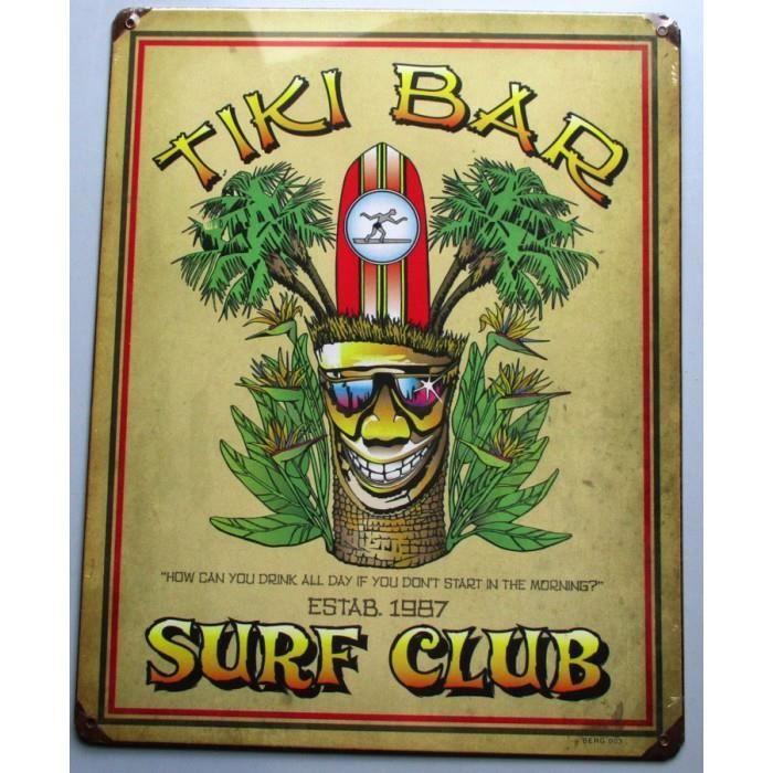 plaque tole paisse tiki bar surf club deco hawaii usa loft achat vente objet d coration. Black Bedroom Furniture Sets. Home Design Ideas