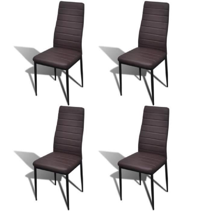 4pcs Chaise Salle A Manger Brun Ligne Slim Pour Salon Design Elegant Confortable Stable Moderne