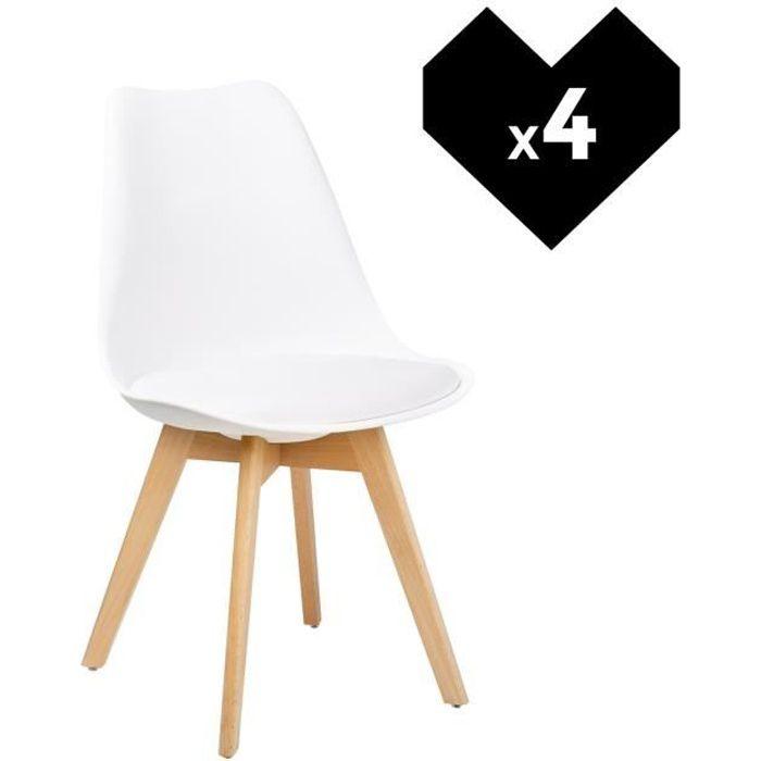 Lot De 4 Chaises Nordic Design Scandinave Blanc Achat Vente