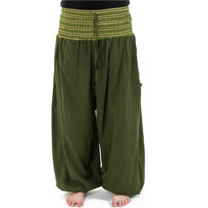Fantazia - Sarouel femme léger - Pantalon sarouel grande taille mixte army  green Pakho - Kaki 32d1f3bb4d5a