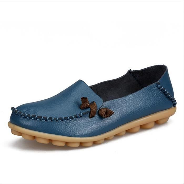 Moccasin femmes nouvelle marque de luxe 2017 ete Respirant Loafer Grande Taille chaussures cuir Confortable Respirant tzgaNR