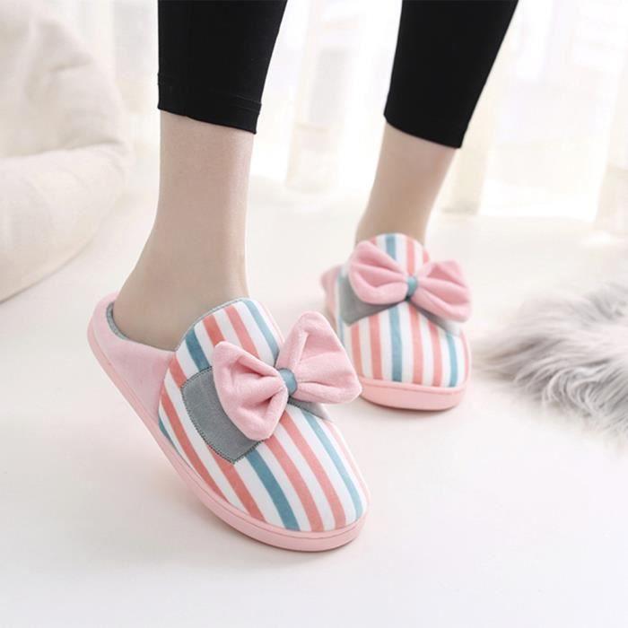 Napoulen®Mode chaussons doux Coton-Pad hiver doux chaussures chaudes ROSE CHAUD-XYM70905901WR pdtuUrVa7