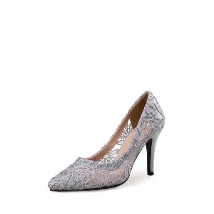 Escarpin Femmes Pompes SexyPointed Toes dentelle Ascendeurs talon mince Chaussures de charme 3287360