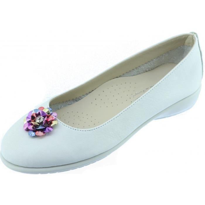 DANCE FLOWER - Ballerine super souple confortable et flexible chaussures femme pieds sensibles marque Aérobics cuir blanc