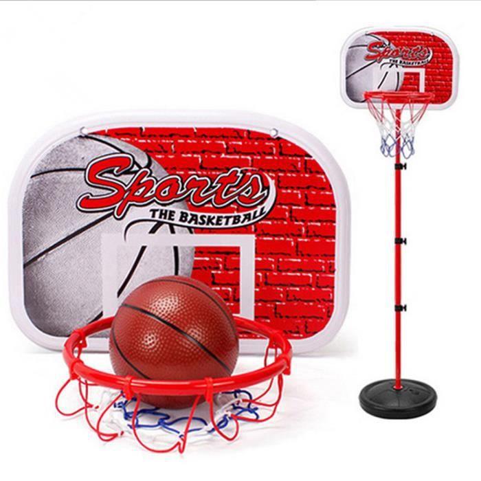 panier basket sur pied + ballon jeu jouet pour enfant ajustable en