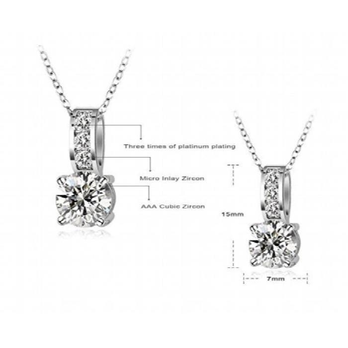 Platinés des femmes Aaa Cristaux Swiss Zircon Round Set bijoux pourSM49F