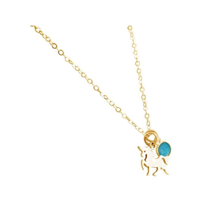 Collier Gemshine avec pierres précieuses licorne et turquoise. Pendentif en argent 925 sur un collier 45cm. Argent, or, rose plaqué