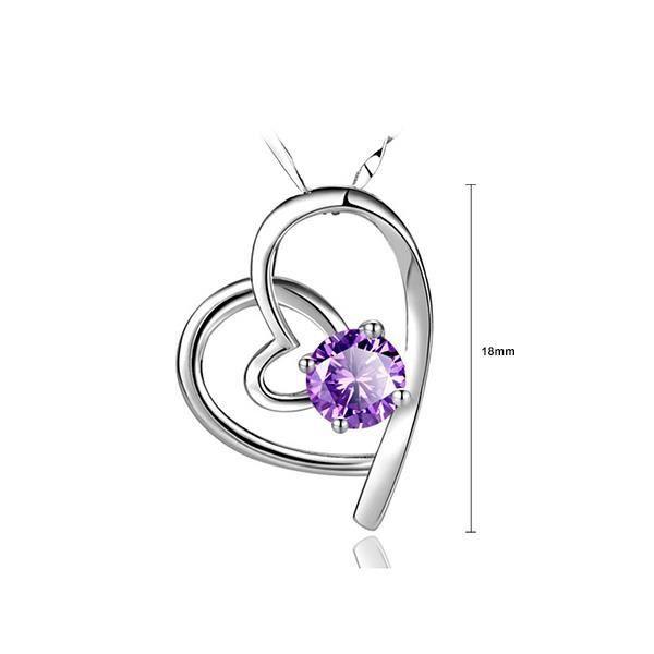 Glamorousky Fashion 925 pendentif coeur argent avec zircone cubique violet et collier (23744)