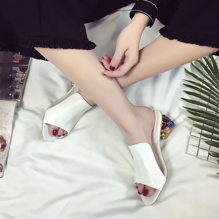Strass Sandales mode Xym71213902wh Tong Pais Parti Zareste Femmes Pantoufle Blanc Talons Flop Chaussures 8n0OwXPk
