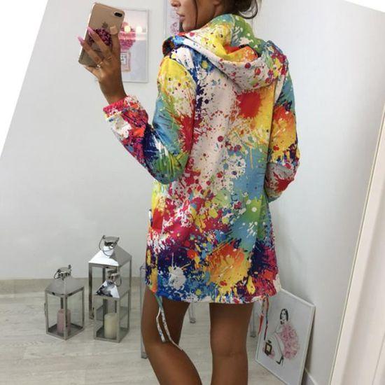 Outwear Tie Marioyuzhang Capuche shirt Des Manteau Blanc De À Imprimer Mode La Femmes Teinture Pardessus Veste Sweat 1zwr1