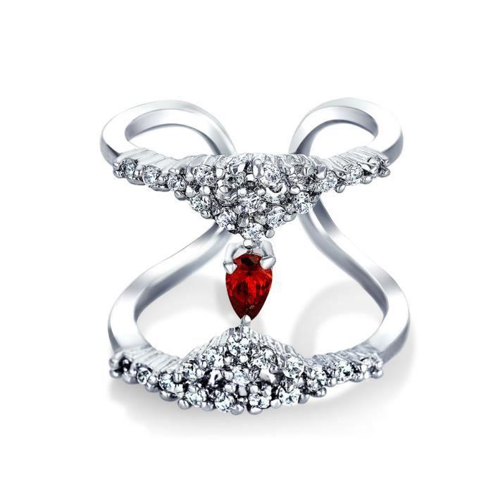 Bling Jewelry grenat rouge simulées CZ rond Double bande plaqué rhodium CZ Ring