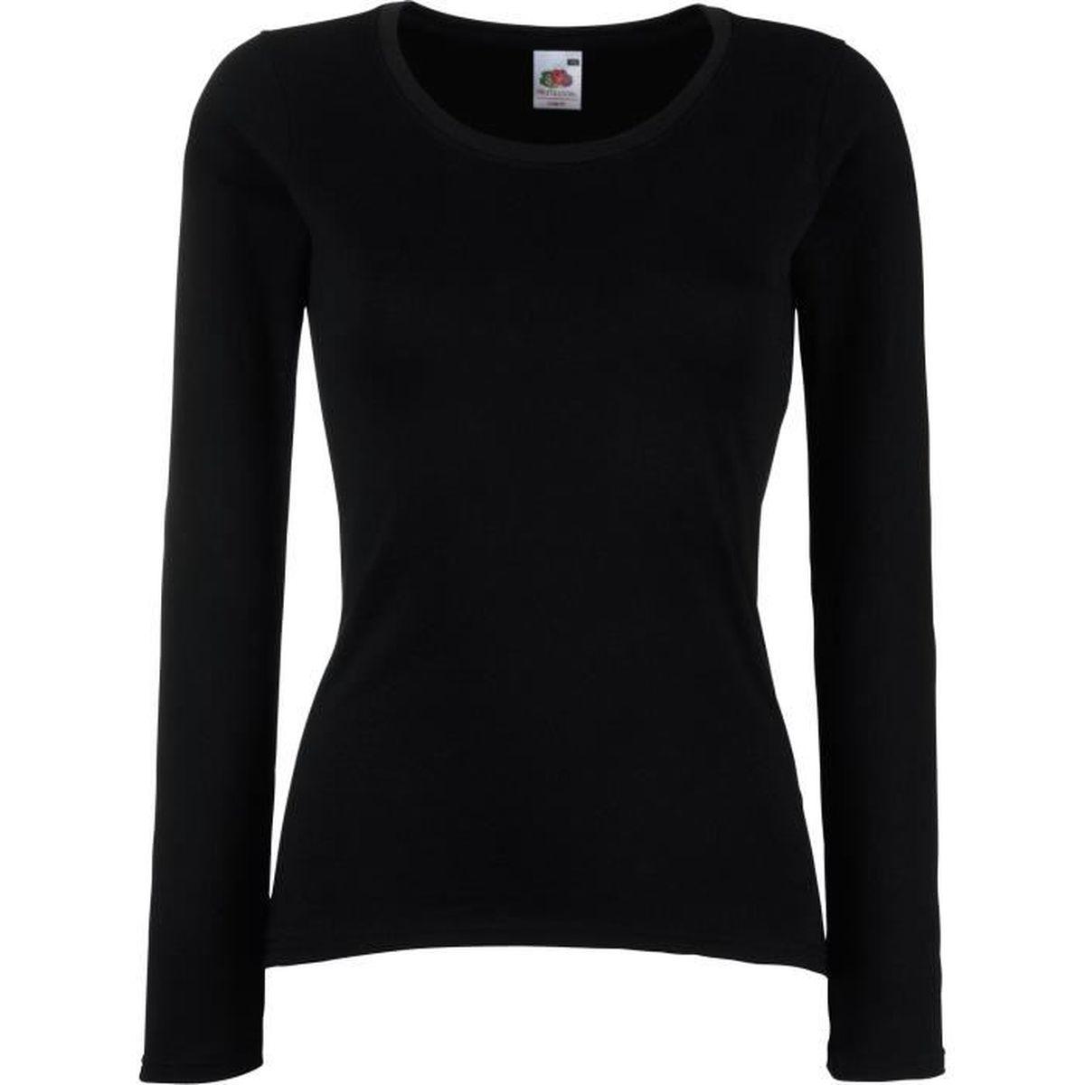 8e1d179f9 T-shirt femme manches longues Black Black - Achat / Vente t-shirt ...