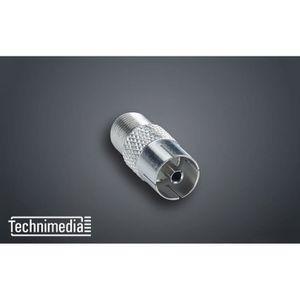 TECHNIMEDIA Adapteur TV 'F' 9,52 mm - Femelle / femelle