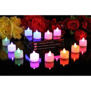 BOUGIE DÉCORATIVE Lot de 12 bougies à piles, sans flammes, à LED qui