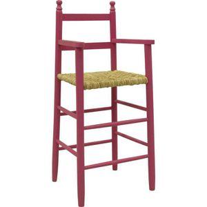 CHAISE HAUTE  Chaise haute pour enfant en hêtre laqué framboi…