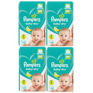 COUCHE Pampers Baby Dry Taille 2 Mini 4-8kg 184 Couches