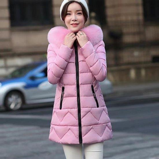 Hiver Milieu Désign Grande Unie Taille Zipper Manteau Épaissir Avec Mode De Col Femme Fourrure Couleur Longue FPwABYq