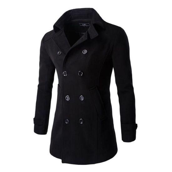 Mode Parka Grand Homme Double Svelte Boutonnage Vêtement Unie Couleur Masculin Revers Épaissi 5HfqCHxwU