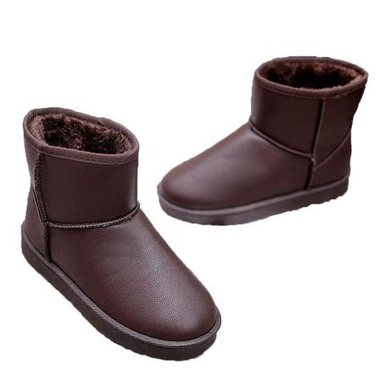 Les femmes Bottes plates cheville fourrure Doublé Chaussures chaud neige d'hiver coton Chaussures Marron Marron - Achat / Vente botte