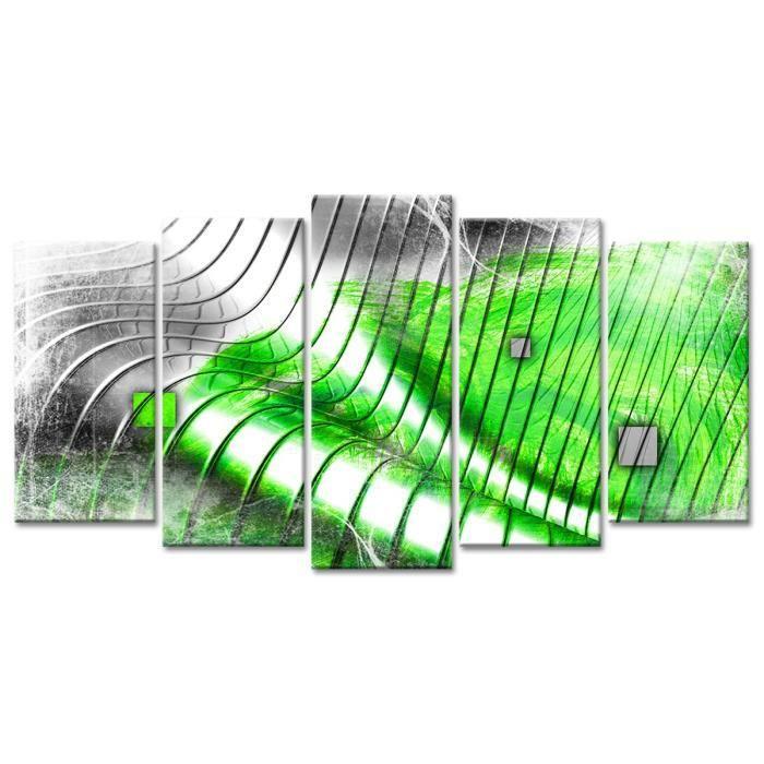 Thème : Abstrait - Tableau Déco Design Vagues Design - 150x80 cm - VertTABLEAU - TOILE