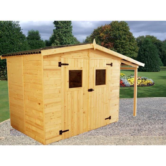 Abri de jardin 5,04m² en bois avec bûcher 2,08m² - Toiture en plaques ondulées