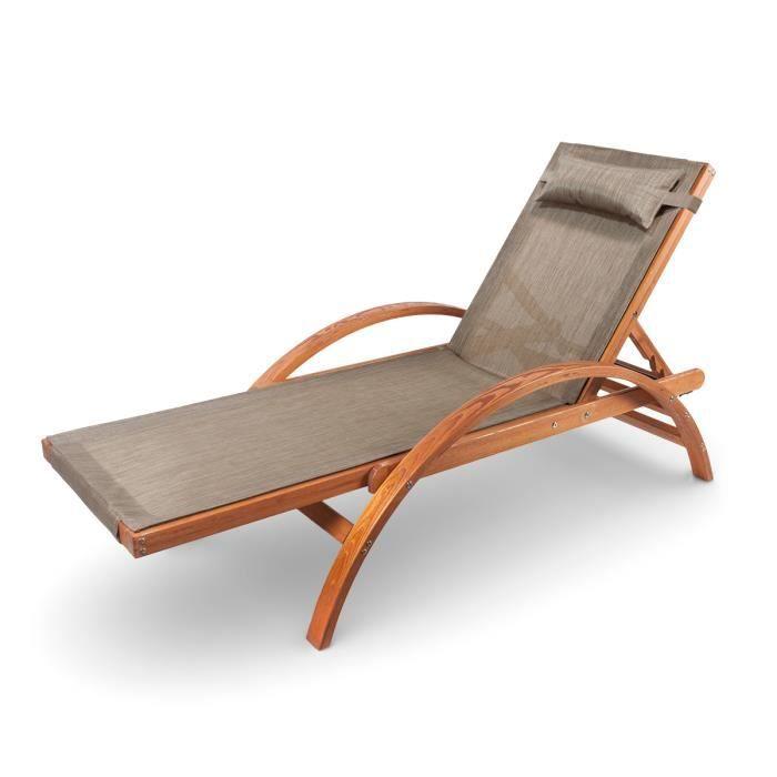 Ampel 24 chaise longue de jardin caribic 199x75cm en for Chaise longue de couleur