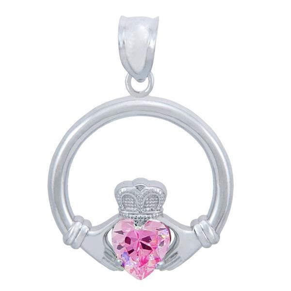 Collier PendentifArgent 925/1000 Claddagh Rose Oxyde de zirconium Collier Pendentif-Cœur- (L) (Comes with A 45 cm Chain)