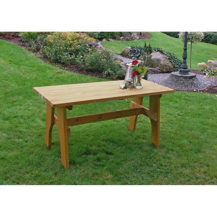 Table salon de jardin 70x200 design rustique bois pin traité ...