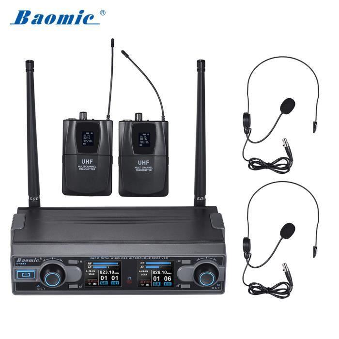 Baomic D-332 Casque Micro / Numérique Sans Fil Uhf Professionnel Système De Microphone Câble Audio 6,35 Mm 2 Microphones