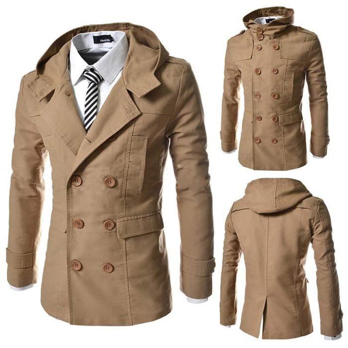 Veste Trench Homme Capuche Mode Slim coupe vent veston croisé manteau homme 127f15cce3ed