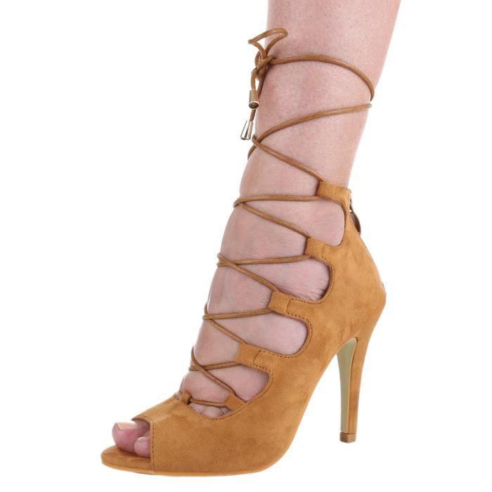 Femme chaussures sandales Talons Hauts escarpin avec laçage Camel 37