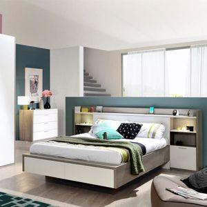tete de lit avec chevet achat vente tete de lit avec chevet pas cher cdiscount. Black Bedroom Furniture Sets. Home Design Ideas