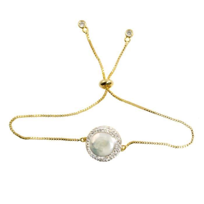 Plaqué or des femmes coulissantes de la chaîne de boîte avec perles deau douce Centre-culture - Bracelet GEOHY