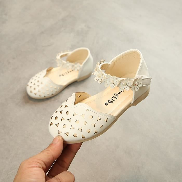 Velcro fleur princesse chaussures Sandales creuses antidérapantes pour filles Sandales enfant princesse Taille 21-30