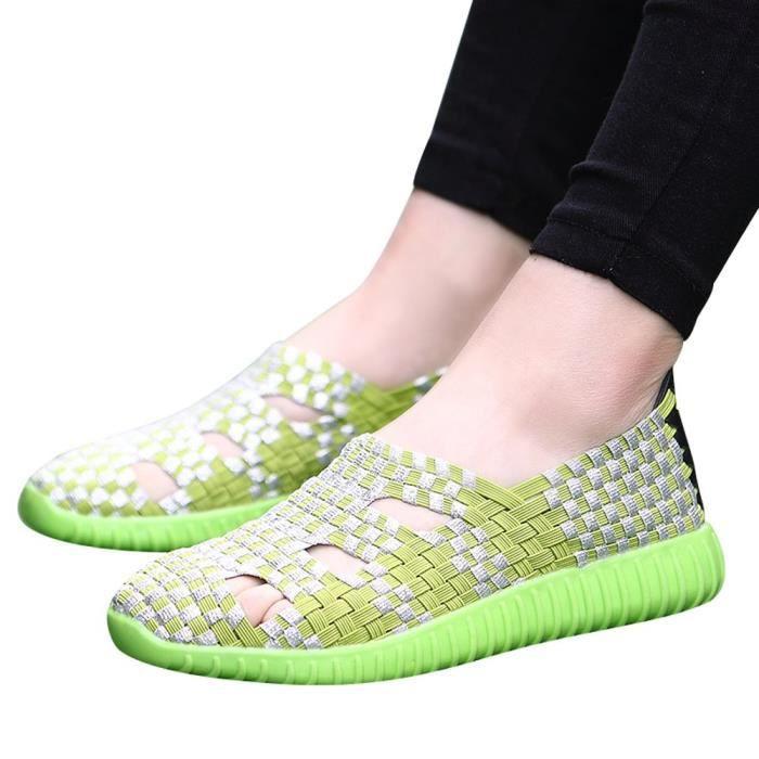 Woven Fashion Non Shoes Vert uji 3428 Slip Casual Running Femmes Flats HBgrx1wqtB
