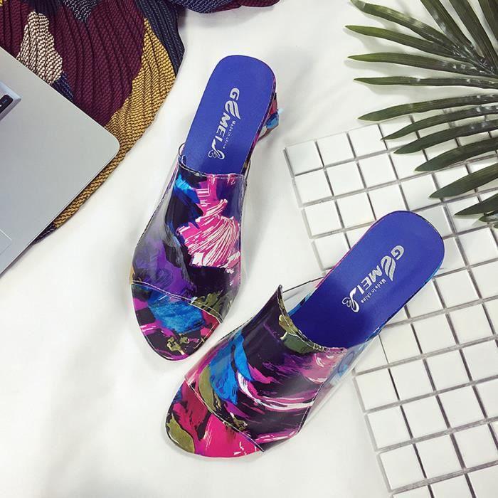 Mode strass talons épais pantoufle femmes sandales parti tong flop chaussures XYM71213902_1001