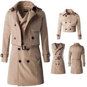 Imperméable - Trench Trench Coat Homme Noir Marque Slim Fit Veste longu
