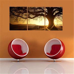 TABLEAU - TOILE 3Pcs Tableau Peinture Coucher Toile Moderne Art Mu