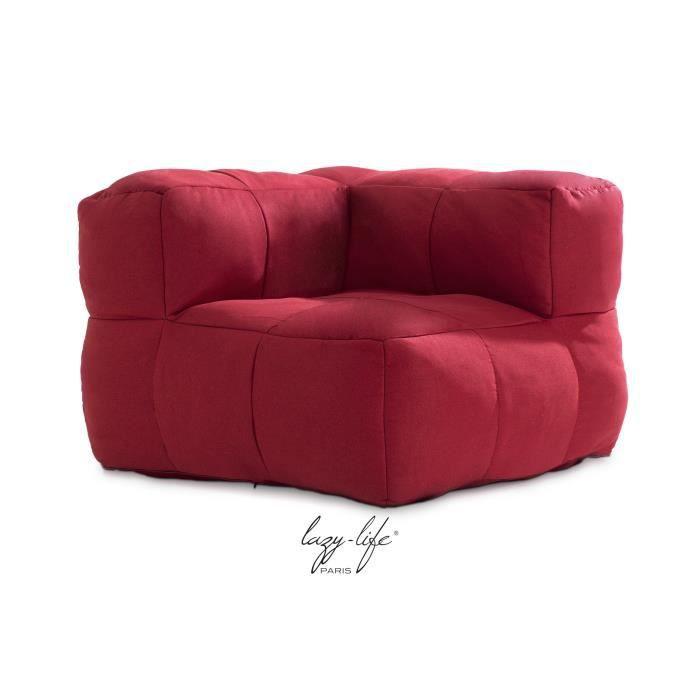 PALAIS ROYAL Fauteuil Dangle Tissu Rouge Contemporain L X - Fauteuil angle