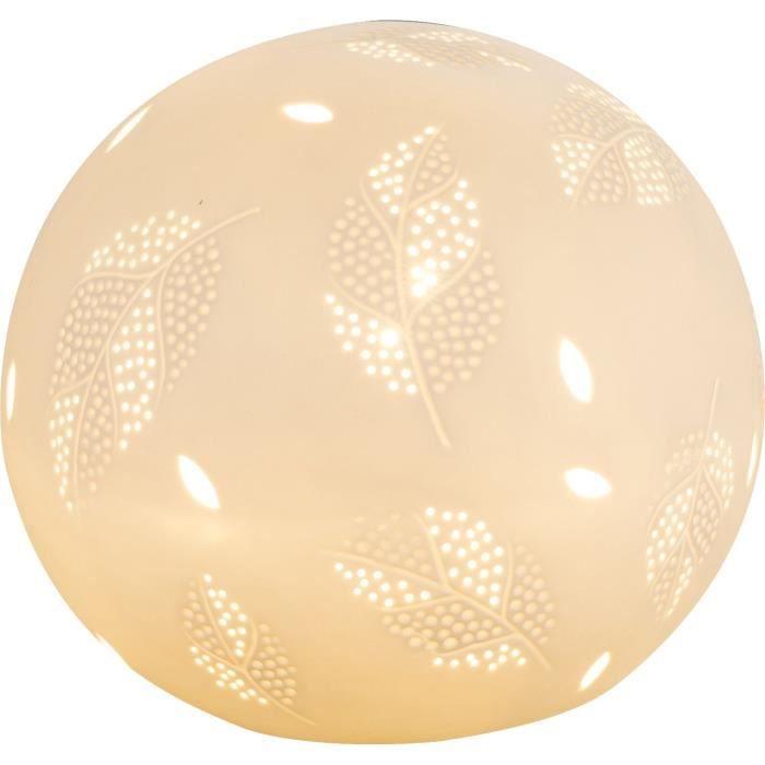 Lampe à poser en porcelaine 19x21x21 cm blanc mat