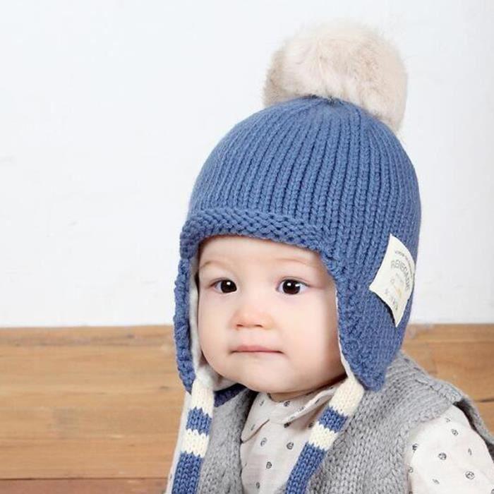 Bonnet Fille Garçon d hiver Chaud Oreilles pour Enfants Bebe Bleu ... 605c6d1b203
