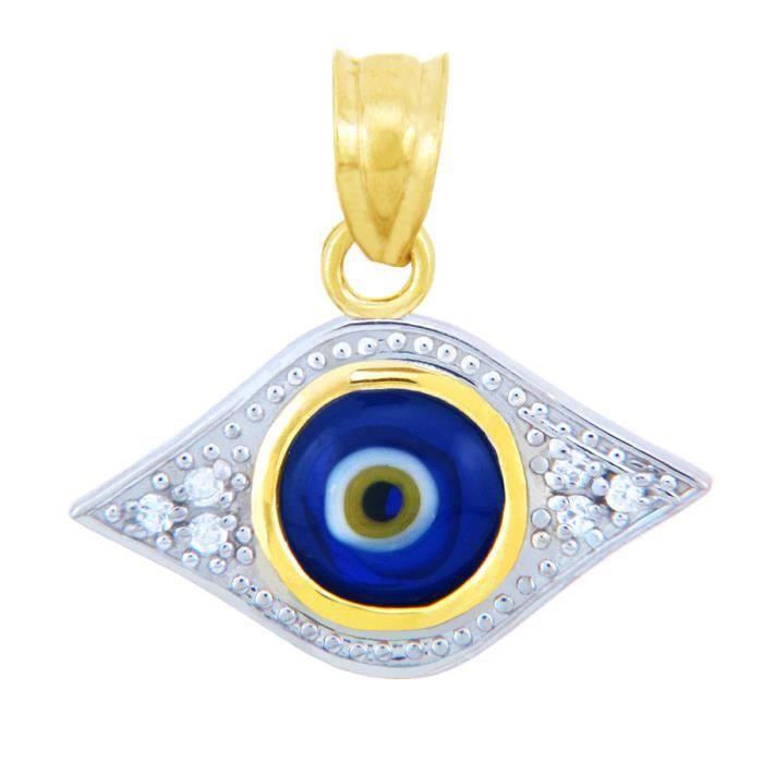 Collier Pendentif10 ct 471/1000 de diamant Or Evil Eye Pendant Collier Pendentif Bleu (vient avec une Chaîne de 45 cm)
