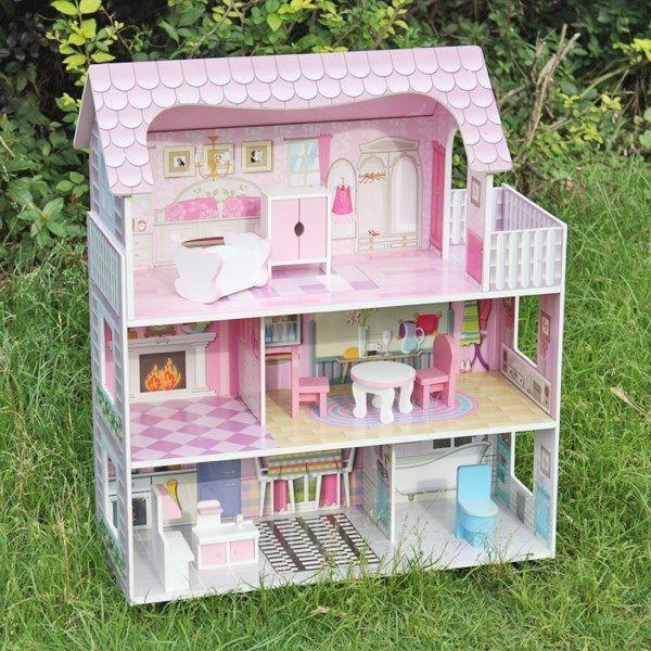 MAISON POUPÉE Maison de poupée en bois rose