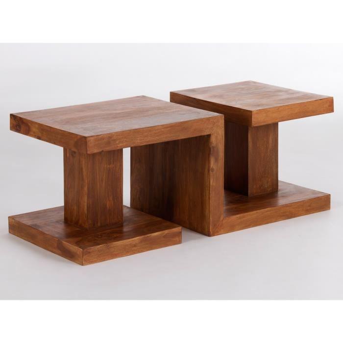 table basse z en palissandre massif ciré miel massivum - achat