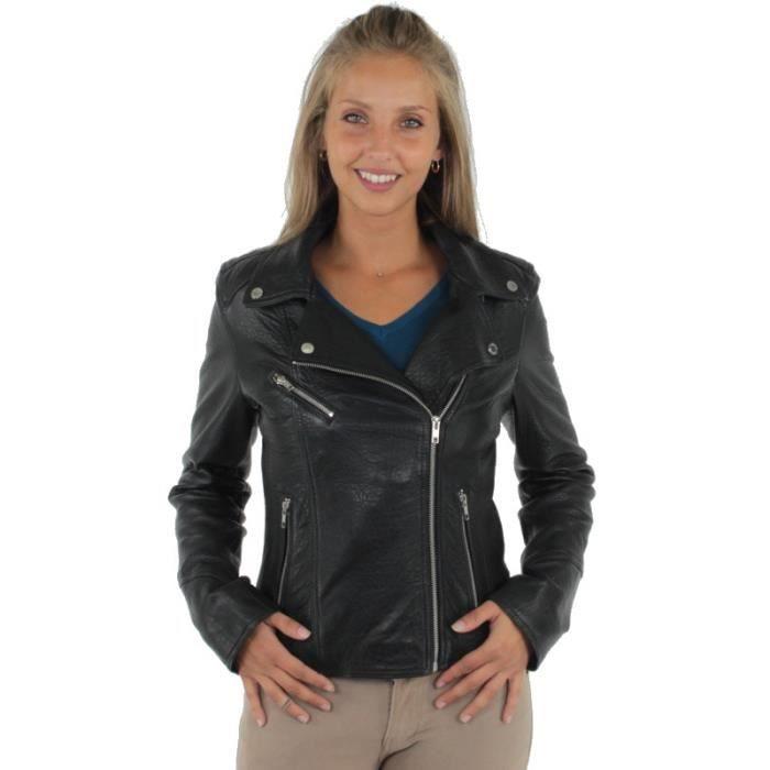 8d32397228455 Blouson style Perfecto Oakwood Flipper en cuir ref_cco37638-noir ...