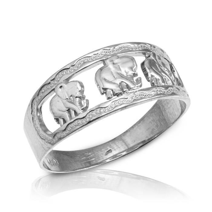 Bague Femme 10 ct Or Blanc 471/1000 Eléphant
