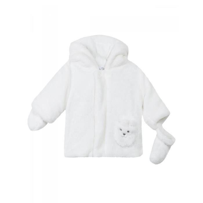 10b49c87e8c7e ABSORBA - Manteau naissance à capuche fourrure polaire blanche bébé garçon  Absorba