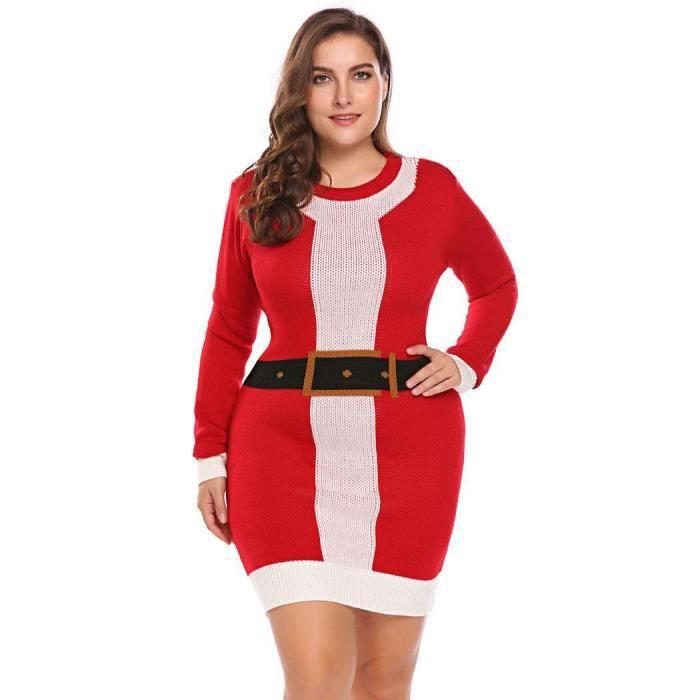 Femmes Robe Col V à Manches Longues Noël Père Noël Motif